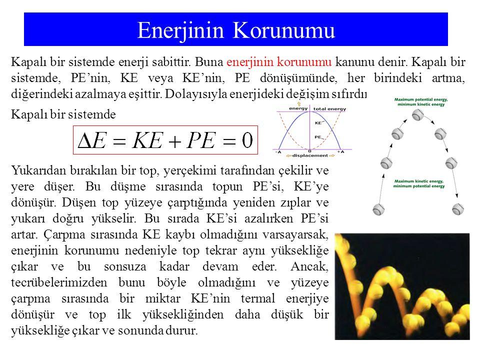 Enerjinin Korunumu Kapalı bir sistemde enerji sabittir. Buna enerjinin korunumu kanunu denir. Kapalı bir sistemde, PE'nin, KE veya KE'nin, PE dönüşümü