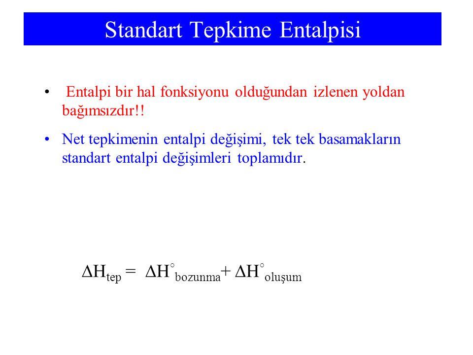 Standart Tepkime Entalpisi Entalpi bir hal fonksiyonu olduğundan izlenen yoldan bağımsızdır!! Net tepkimenin entalpi değişimi, tek tek basamakların st