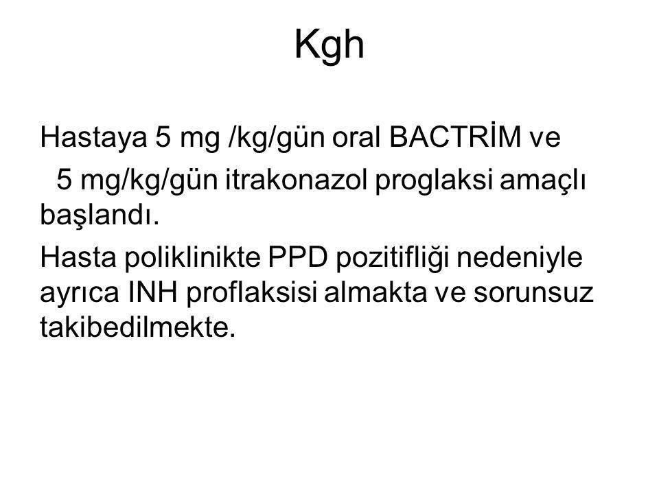 Kgh Hastaya 5 mg /kg/gün oral BACTRİM ve 5 mg/kg/gün itrakonazol proglaksi amaçlı başlandı.