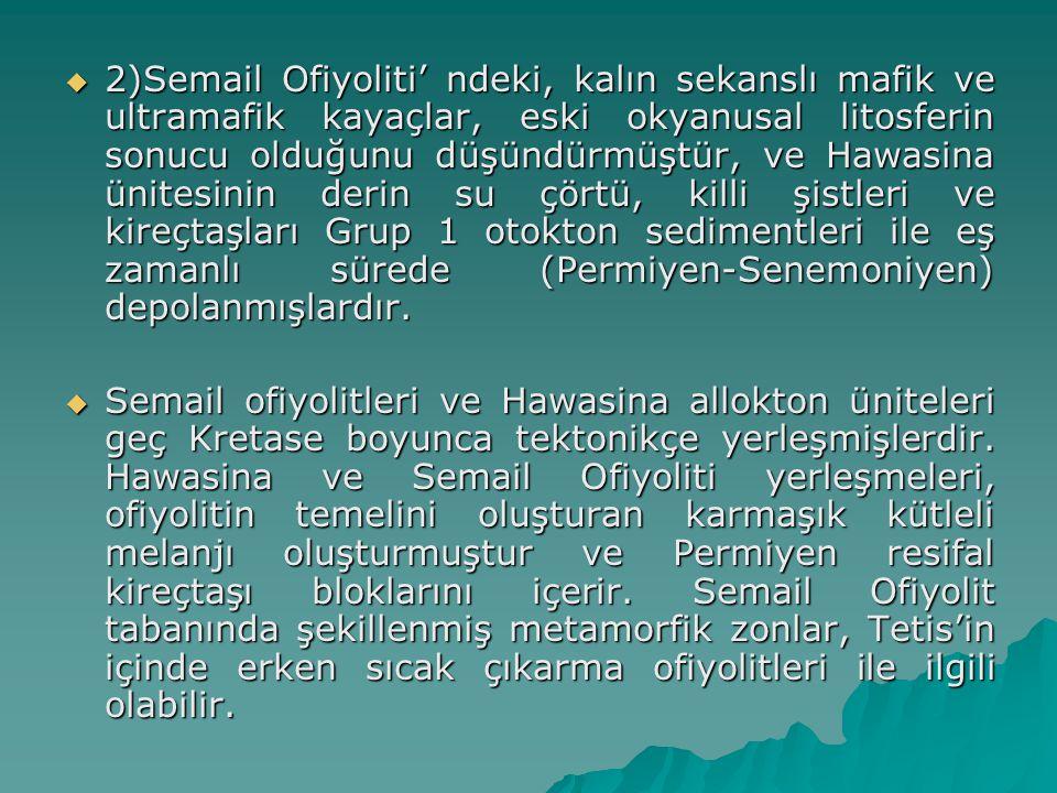  3)Geç Kretase-orta Tersiyer yaşlı kalın, sığ su denizel kireçtaşları, Semail Ofiyolitleri'nin tektonik yerleşmesini izleyen transgresif sekansı temsil eder.