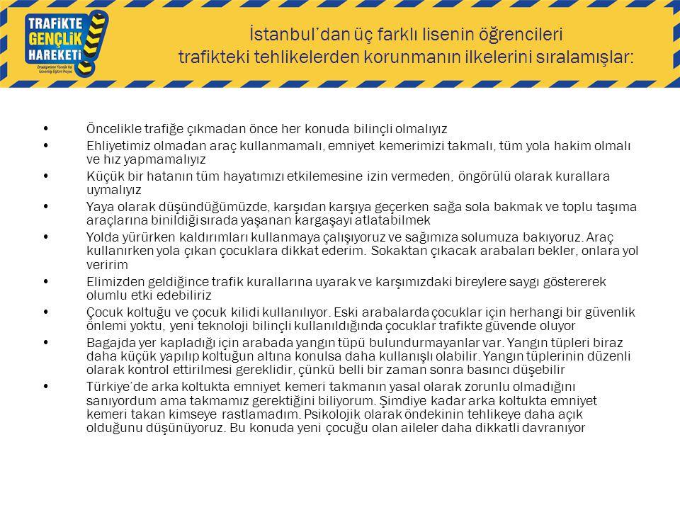 İstanbul'dan üç farklı lisenin öğrencileri trafikteki tehlikelerden korunmanın ilkelerini sıralamışlar: Öncelikle trafiğe çıkmadan önce her konuda bil