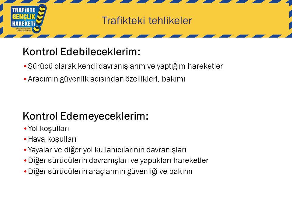 Trafikteki tehlikeler Kontrol Edebileceklerim: Sürücü olarak kendi davranışlarım ve yaptığım hareketler Aracımın güvenlik açısından özellikleri, bakım