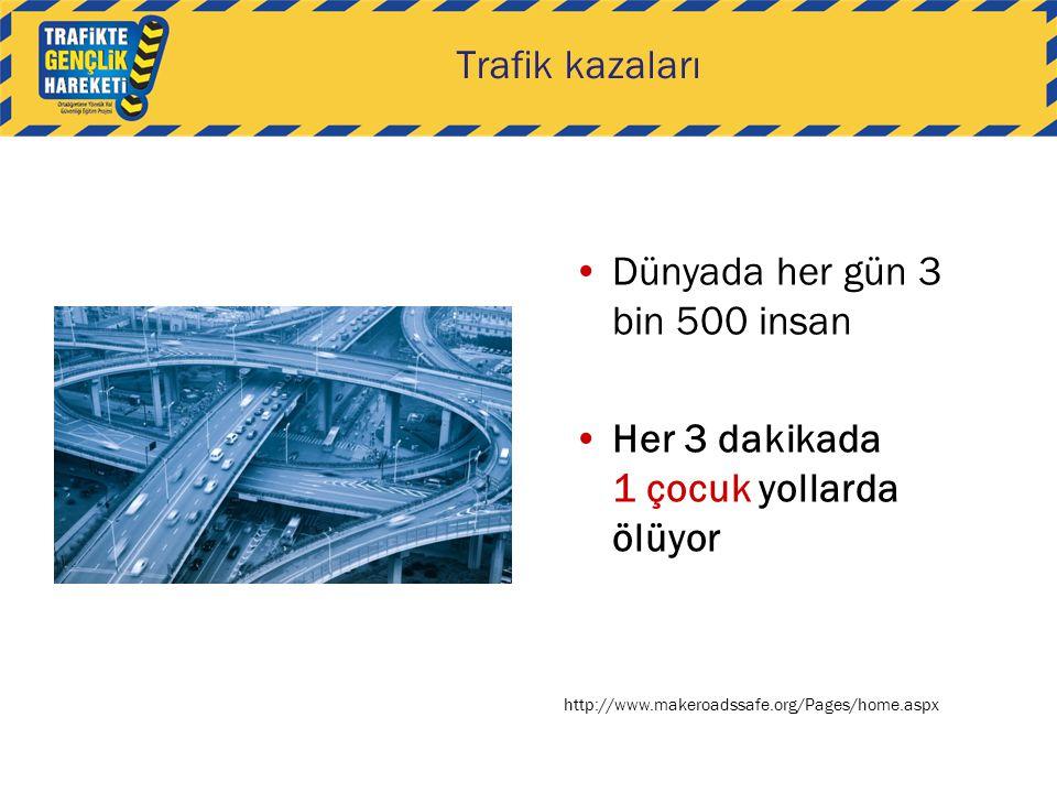 Dünyada her gün 3 bin 500 insan Her 3 dakikada 1 çocuk yollarda ölüyor http://www.makeroadssafe.org/Pages/home.aspx Trafik kazaları