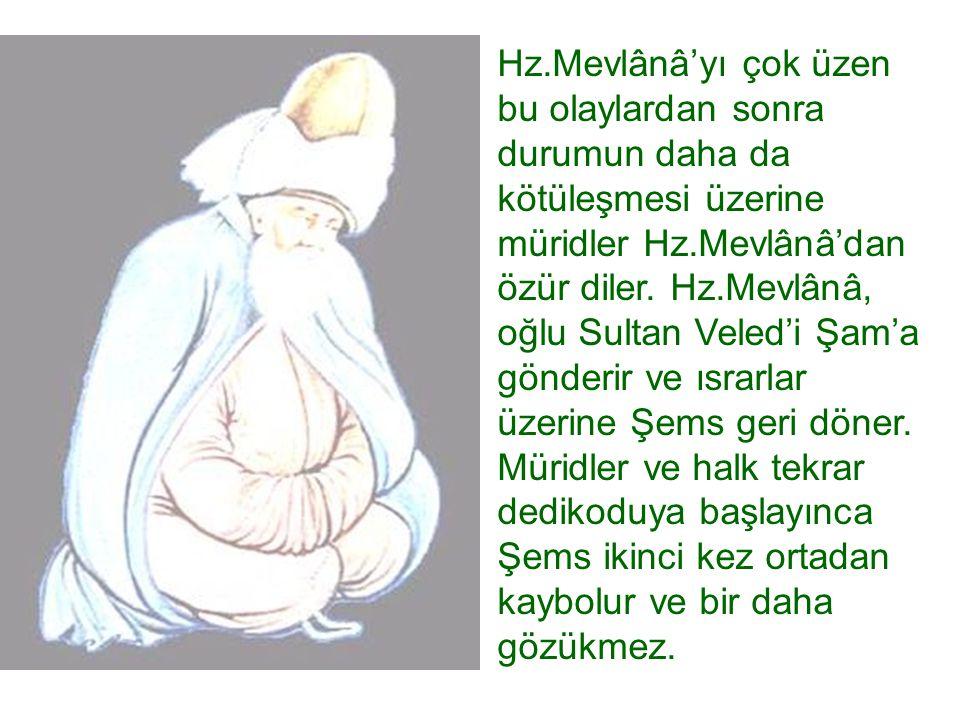 Hz.Mevlânâ'yı çok üzen bu olaylardan sonra durumun daha da kötüleşmesi üzerine müridler Hz.Mevlânâ'dan özür diler. Hz.Mevlânâ, oğlu Sultan Veled'i Şam