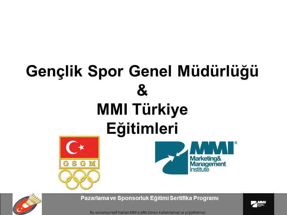 Bu sunumun telif hakları MMI'a aittir.İzinsiz kullanılamaz ve çoğaltılamaz Pazarlama ve Sponsorluk Eğitimi Sertifika Programı Gençlik Spor Genel Müdür