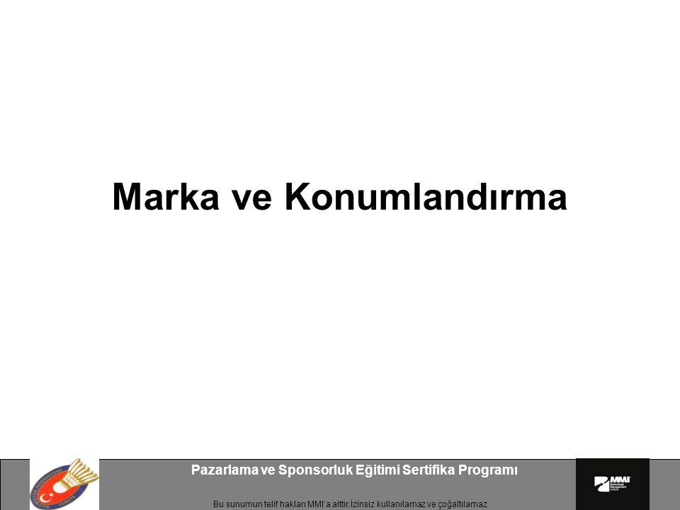 Bu sunumun telif hakları MMI'a aittir.İzinsiz kullanılamaz ve çoğaltılamaz Pazarlama ve Sponsorluk Eğitimi Sertifika Programı Marka ve Konumlandırma