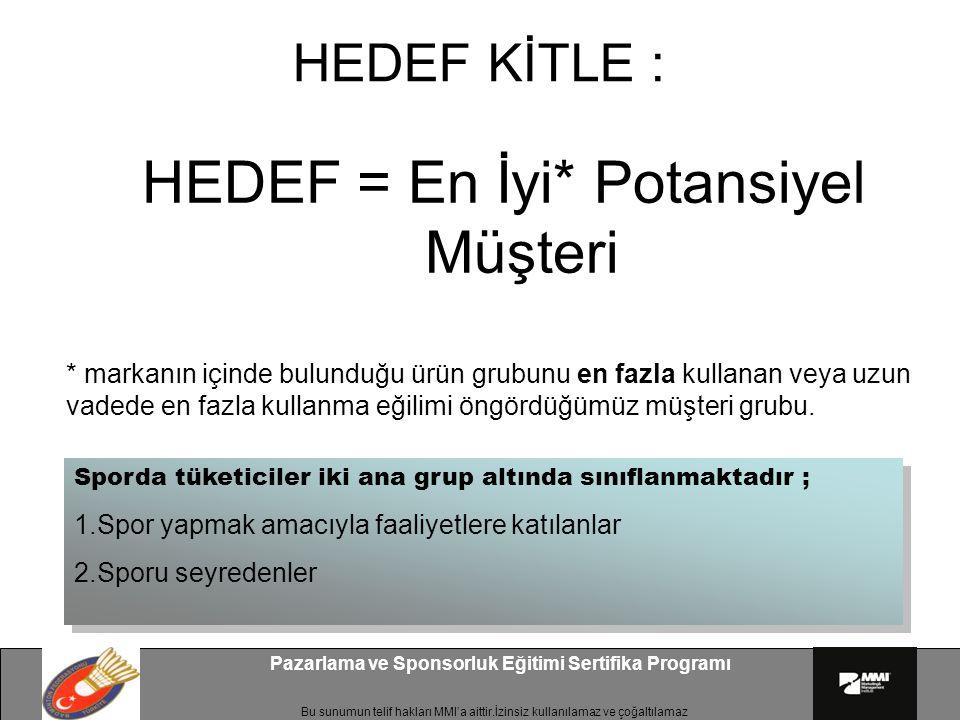 Bu sunumun telif hakları MMI'a aittir.İzinsiz kullanılamaz ve çoğaltılamaz Pazarlama ve Sponsorluk Eğitimi Sertifika Programı HEDEF KİTLE : HEDEF = En