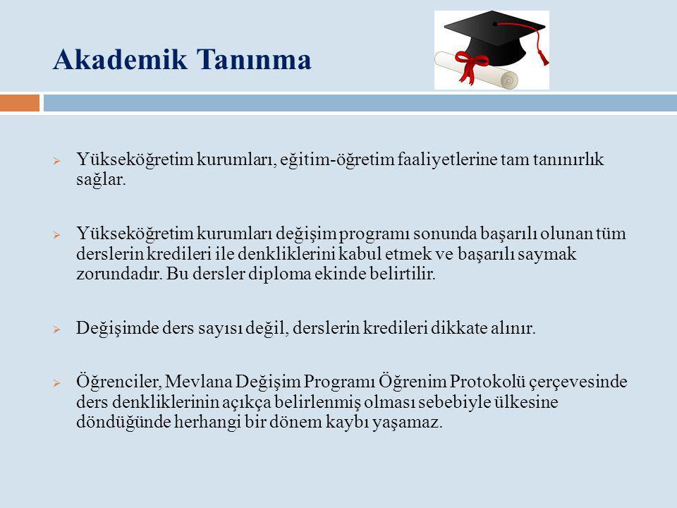 Akademik Tanınma  Yükseköğretim kurumları, eğitim-öğretim faaliyetlerine tam tanınırlık sağlar.  Yükseköğretim kurumları değişim programı sonunda ba
