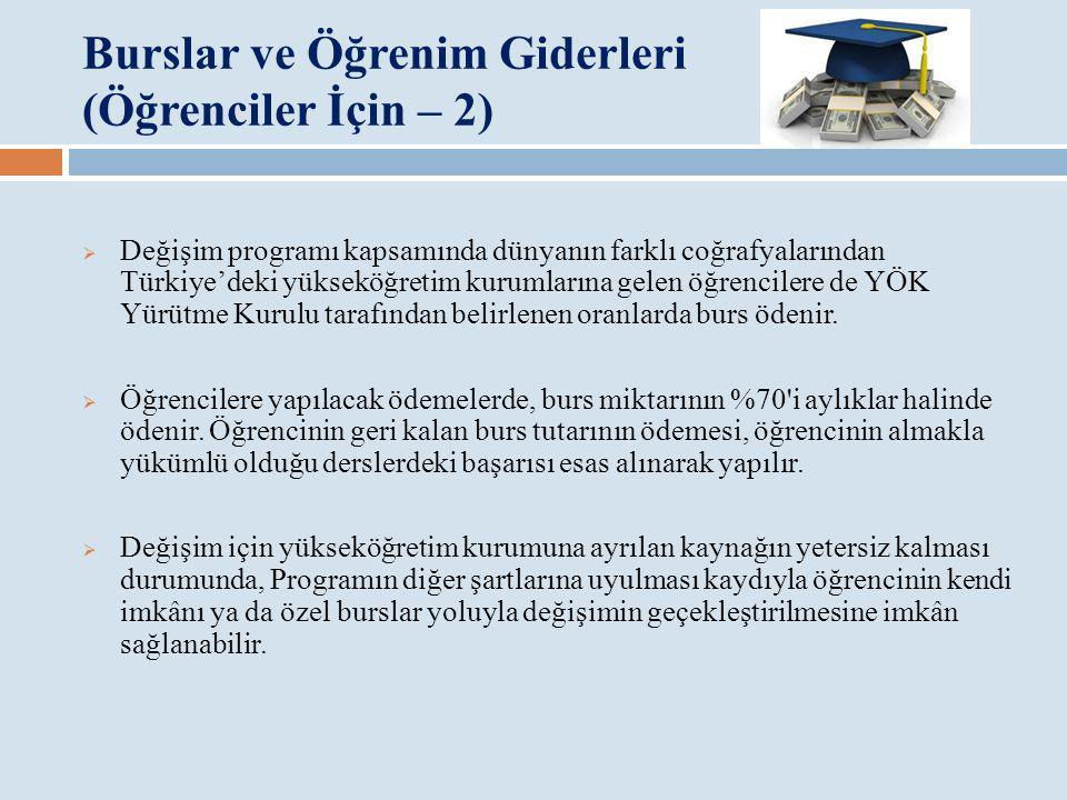 Burslar ve Öğrenim Giderleri (Öğrenciler İçin – 2)  Değişim programı kapsamında dünyanın farklı coğrafyalarından Türkiye'deki yükseköğretim kurumları