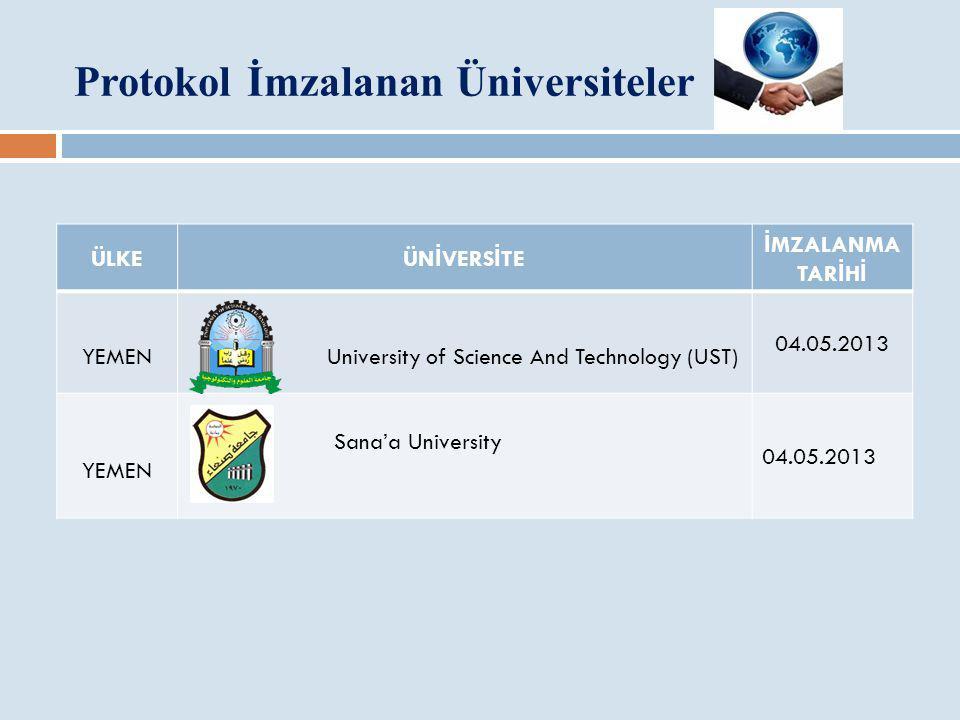 Protokol İmzalanan Üniversiteler ÜLKE ÜN İ VERS İ TE İ MZALANMA TAR İ H İ YEMEN University of Science And Technology (UST) 04.05.2013 YEMEN Sana'a Uni