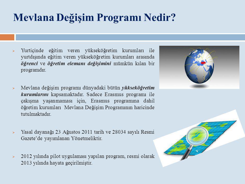 Mevlana Değişim Programının Amacı  Yükseköğretiminde uluslararası değişim sürecine katkıda bulunmak,  Türkiye'yi yükseköğretim alanında bir cazibe merkezi haline getirmek,  Yükseköğretim kurumlarımızın akademik kapasitelerini artırmak,  Türkiye'nin zengin tarihsel ve kültürel mirasını küresel düzeyde paylaşmak,  Kültürler arası etkileşimin artmasıyla, farklılıklara saygı ve anlayış kültürünün zenginleşmesini sağlamaktır.