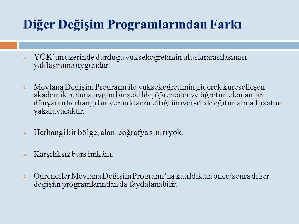 Diğer Değişim Programlarından Farkı  YÖK'ün üzerinde durduğu yükseköğretimin uluslararasılaşması yaklaşımına uygundur.  Mevlana Değişim Programı ile