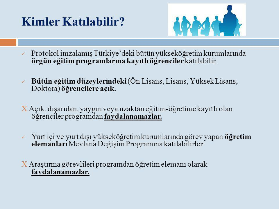 Kimler Katılabilir? Protokol imzalamış Türkiye'deki bütün yükseköğretim kurumlarında örgün eğitim programlarına kayıtlı öğrenciler katılabilir. Bütün