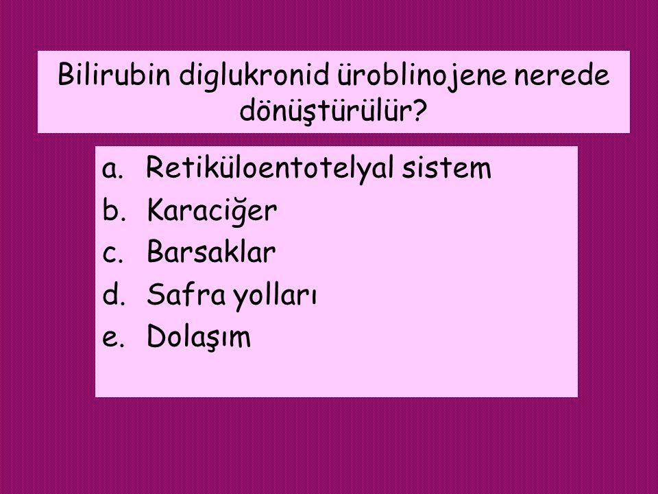 Bilirubin diglukronid üroblinojene nerede dönüştürülür? a.Retiküloentotelyal sistem b.Karaciğer c.Barsaklar d.Safra yolları e.Dolaşım
