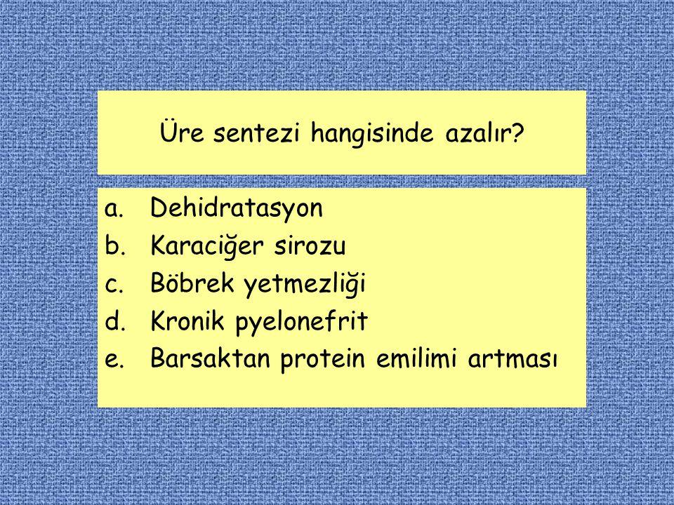 Üre sentezi hangisinde azalır? a.Dehidratasyon b.Karaciğer sirozu c.Böbrek yetmezliği d.Kronik pyelonefrit e.Barsaktan protein emilimi artması