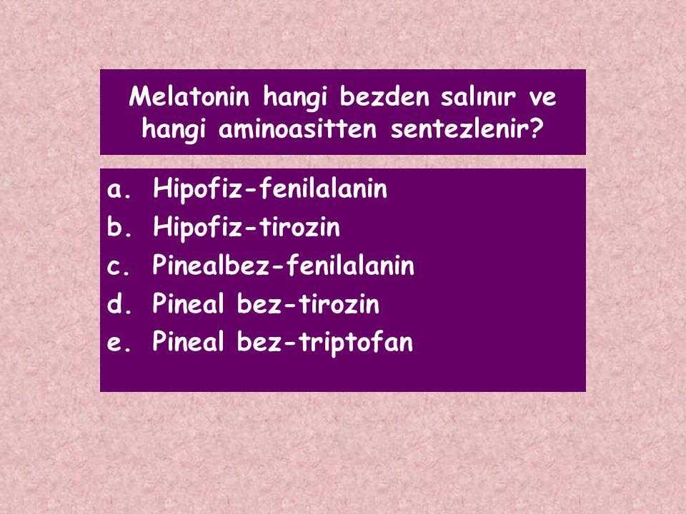 Melatonin hangi bezden salınır ve hangi aminoasitten sentezlenir? a.Hipofiz-fenilalanin b.Hipofiz-tirozin c.Pinealbez-fenilalanin d.Pineal bez-tirozin