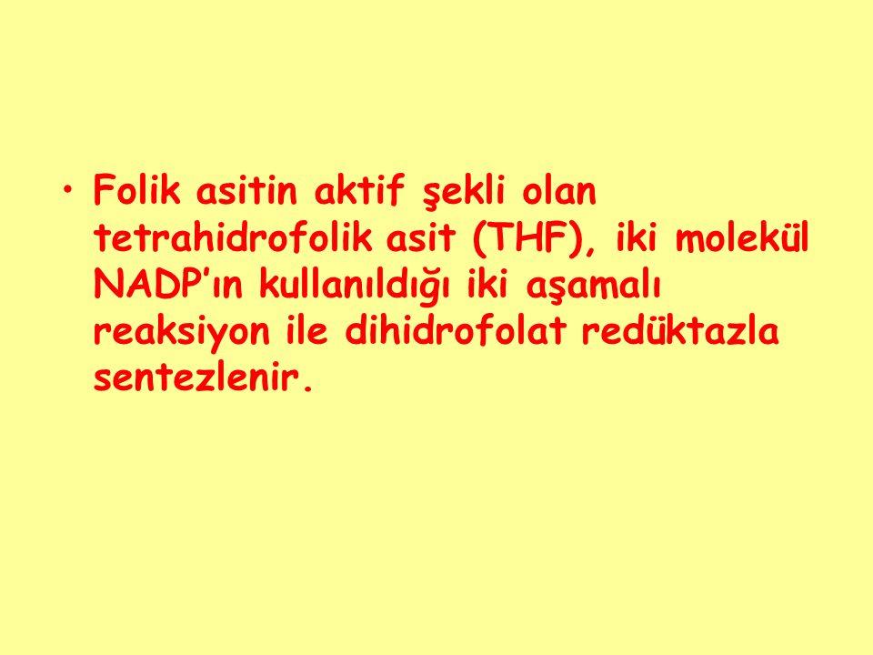 Folik asitin aktif şekli olan tetrahidrofolik asit (THF), iki molekül NADP'ın kullanıldığı iki aşamalı reaksiyon ile dihidrofolat redüktazla sentezlen