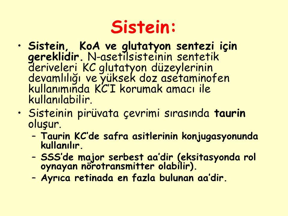 Sistein: Sistein, KoA ve glutatyon sentezi için gereklidir. N-asetilsisteinin sentetik deriveleri KC glutatyon düzeylerinin devamlılığı ve yüksek doz