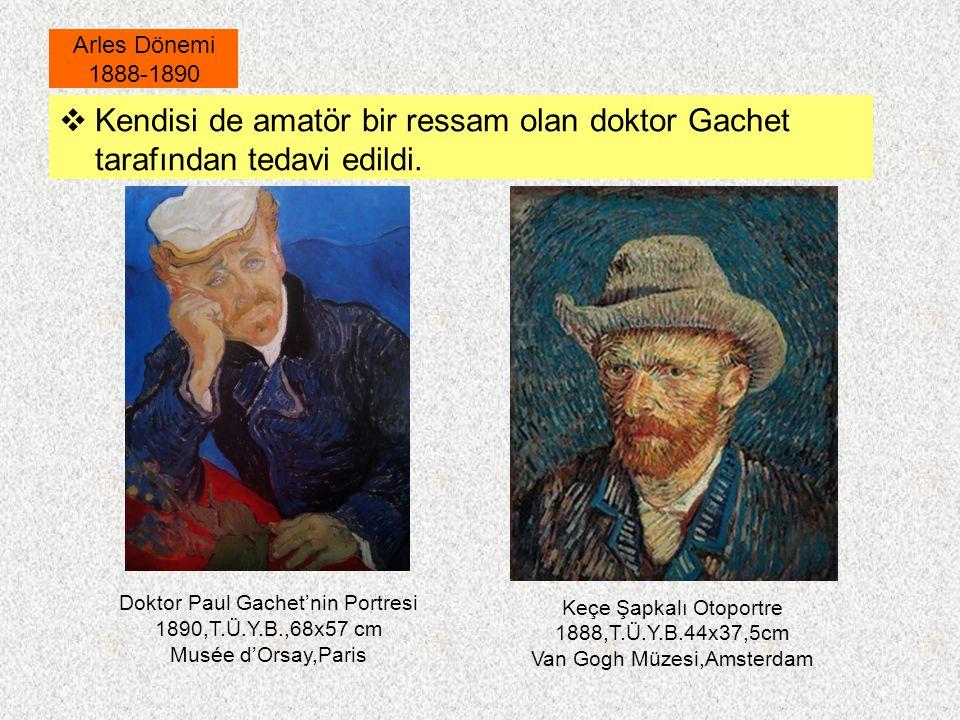  Kendisi de amatör bir ressam olan doktor Gachet tarafından tedavi edildi. Arles Dönemi 1888-1890 Keçe Şapkalı Otoportre 1888,T.Ü.Y.B.44x37,5cm Van G