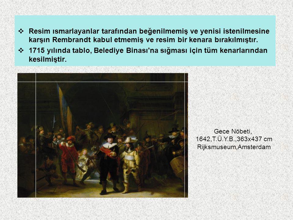  Resim ısmarlayanlar tarafından beğenilmemiş ve yenisi istenilmesine karşın Rembrandt kabul etmemiş ve resim bir kenara bırakılmıştır.  1715 yılında