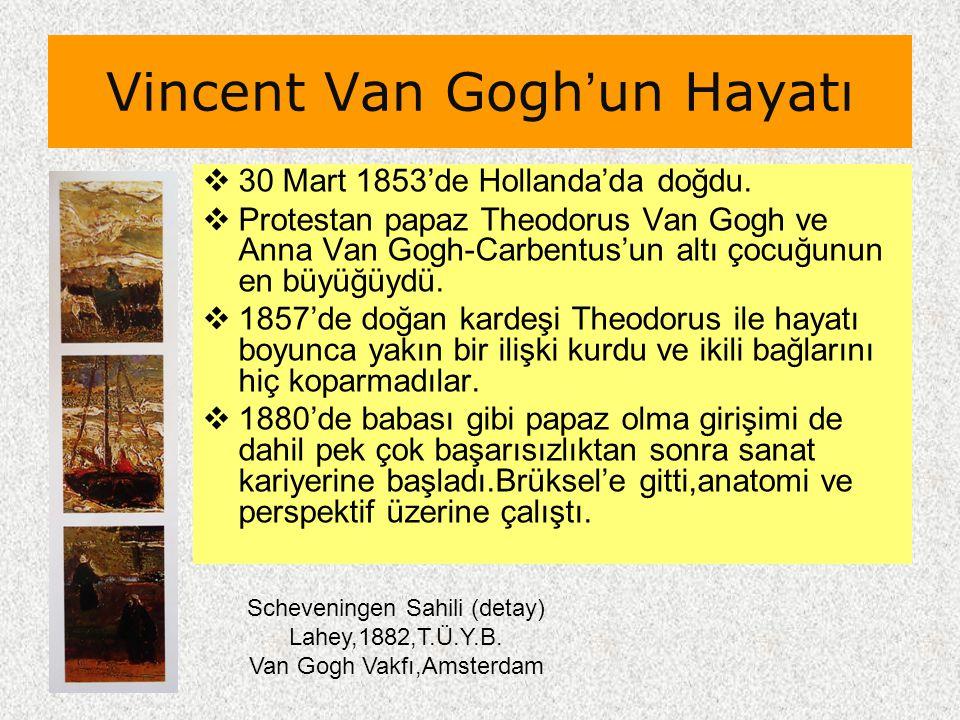 Vincent Van Gogh'un Hayatı  30 Mart 1853'de Hollanda'da doğdu.  Protestan papaz Theodorus Van Gogh ve Anna Van Gogh-Carbentus'un altı çocuğunun en b