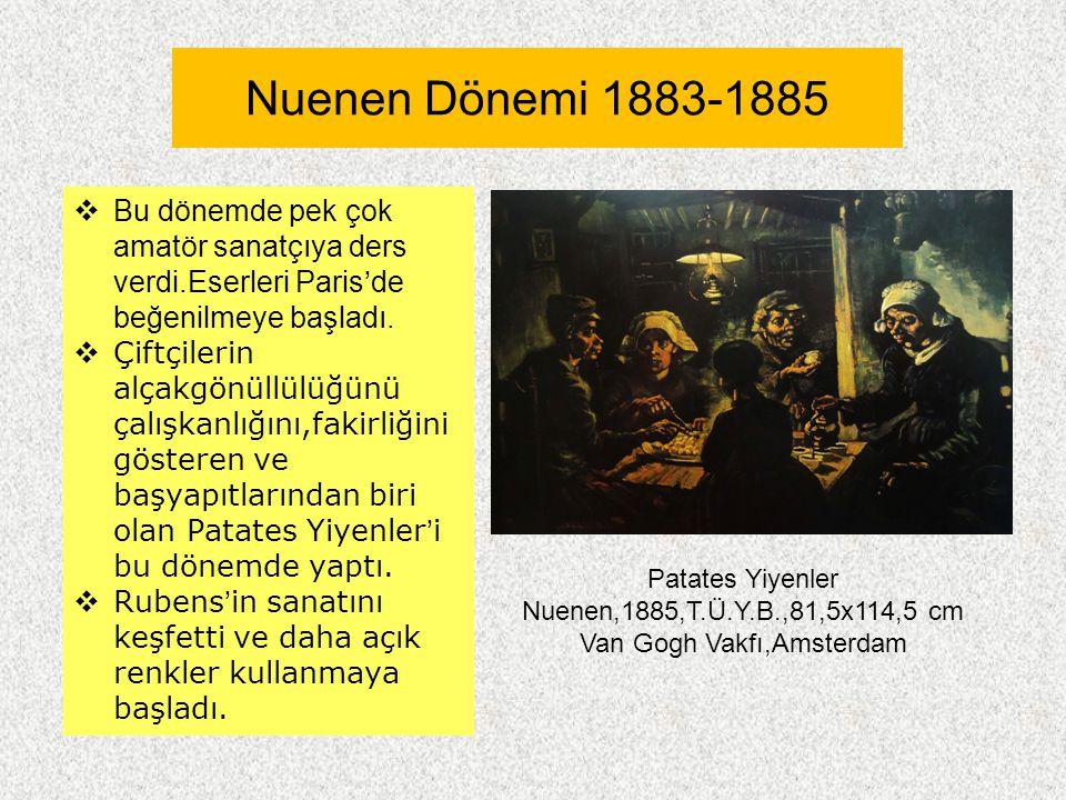 Nuenen Dönemi 1883-1885  Bu dönemde pek çok amatör sanatçıya ders verdi.Eserleri Paris'de beğenilmeye başladı.  Çiftçilerin alçakgönüllülüğünü çalış
