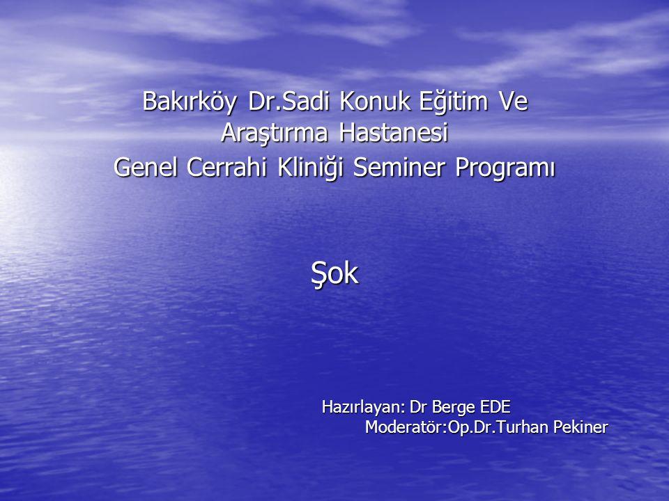 Bakırköy Dr.Sadi Konuk Eğitim Ve Araştırma Hastanesi Genel Cerrahi Kliniği Seminer Programı Şok Hazırlayan: Dr Berge EDE Moderatör:Op.Dr.Turhan Pekine