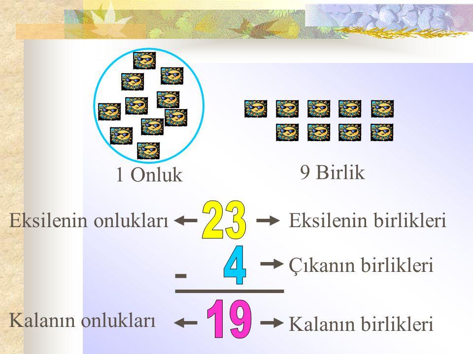 1 Onluk 9 Birlik - Eksilenin birlikleri Çıkanın birlikleri Kalanın birlikleri Eksilenin onlukları Kalanın onlukları