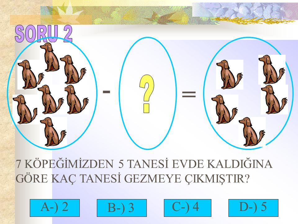 - = 7 KÖPEĞİMİZDEN 5 TANESİ EVDE KALDIĞINA GÖRE KAÇ TANESİ GEZMEYE ÇIKMIŞTIR? A-) 2C-) 4 B-) 3 D-) 5