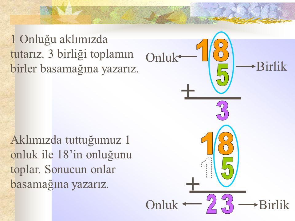 + Onluk Birlik 1 Onluğu aklımızda tutarız. 3 birliği toplamın birler basamağına yazarız. + Aklımızda tuttuğumuz 1 onluk ile 18'in onluğunu toplar. Son