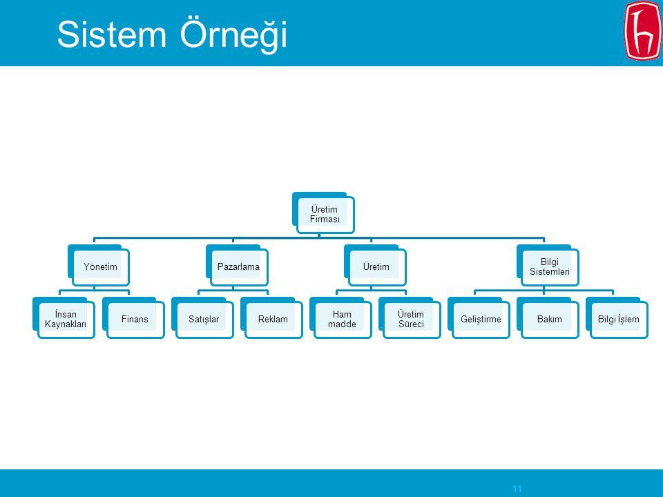 11 Sistem Örneği Üretim Firması Yönetim İnsan Kaynakları FinansPazarlamaSatışlarReklamÜretim Ham madde Üretim Süreci Bilgi Sistemleri GeliştirmeBakımB