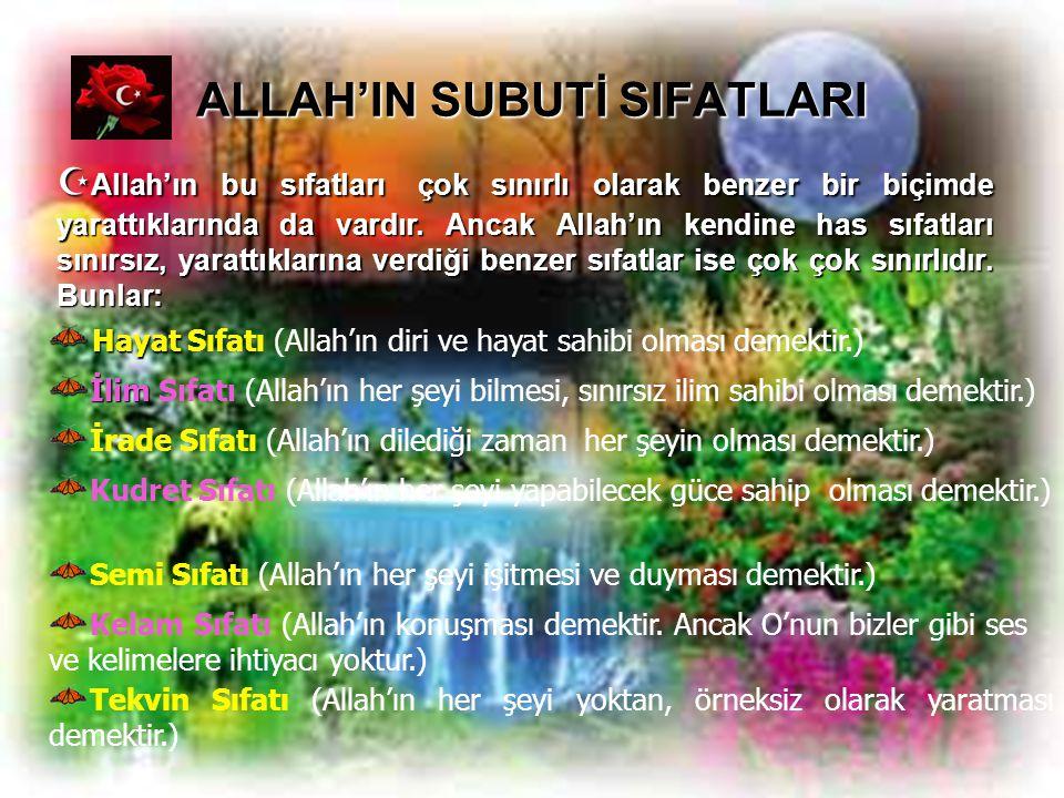 ALLAH'IN SUBUTİ SIFATLARI Hayat Hayat Sıfatı (Allah'ın diri ve hayat sahibi olması demektir.)  Allah'ın bu sıfatları çok sınırlı olarak benzer bir bi