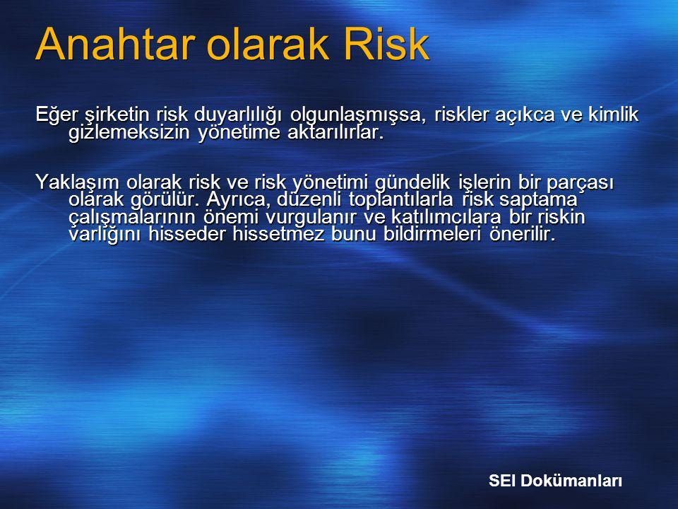 Anahtar olarak Risk Eğer şirketin risk duyarlılığı olgunlaşmışsa, riskler açıkca ve kimlik gizlemeksizin yönetime aktarılırlar. Yaklaşım olarak risk v