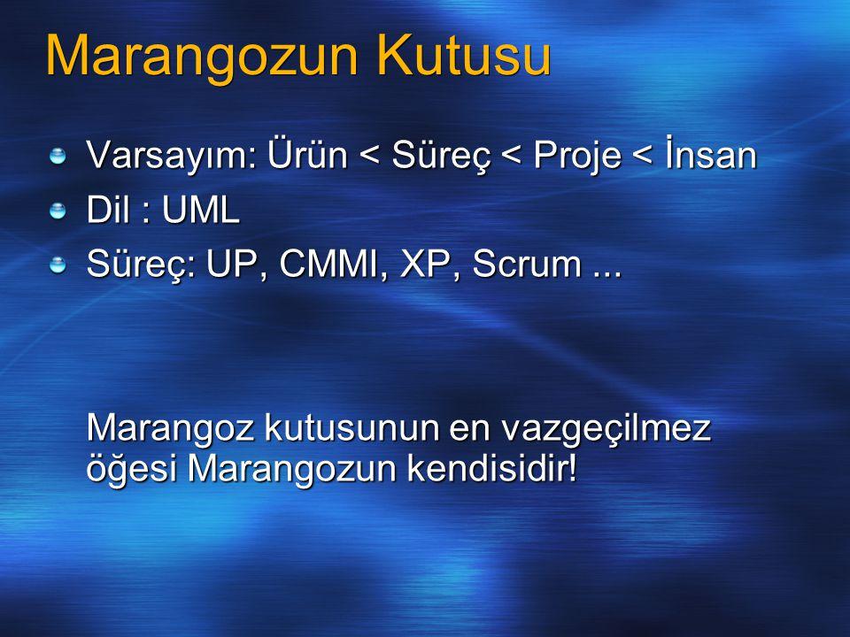 Marangozun Kutusu Varsayım: Ürün < Süreç < Proje < İnsan Dil : UML Süreç: UP, CMMI, XP, Scrum... Marangoz kutusunun en vazgeçilmez öğesi Marangozun ke