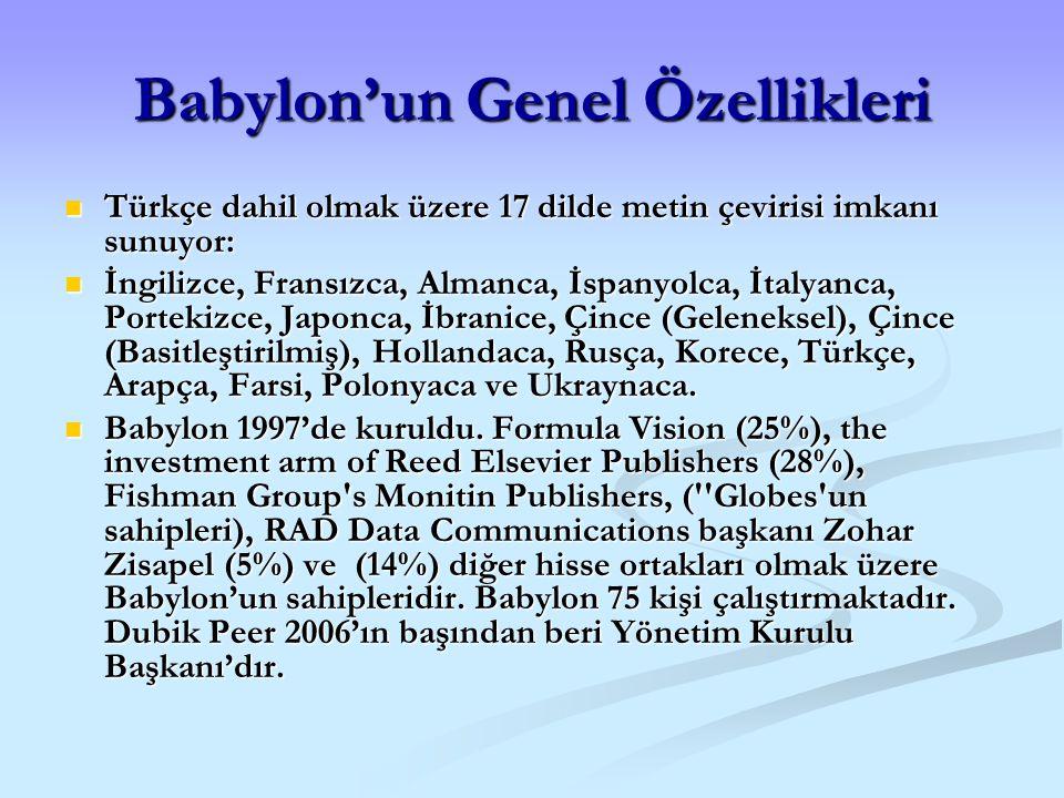 Babylon'un Genel Özellikleri Türkçe dahil olmak üzere 17 dilde metin çevirisi imkanı sunuyor: Türkçe dahil olmak üzere 17 dilde metin çevirisi imkanı