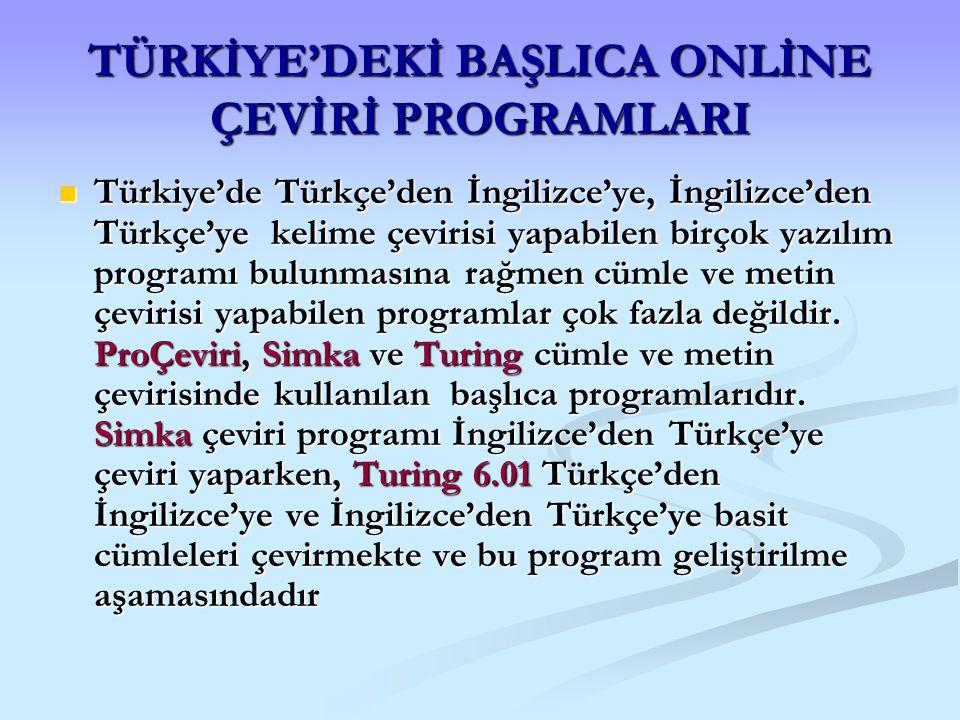 TÜRKİYE'DEKİ BAŞLICA ONLİNE ÇEVİRİ PROGRAMLARI Türkiye'de Türkçe'den İngilizce'ye, İngilizce'den Türkçe'ye kelime çevirisi yapabilen birçok yazılım pr