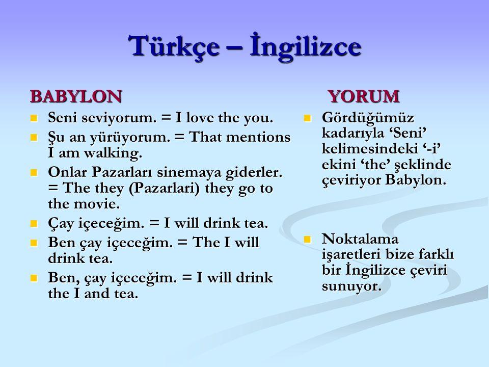 Türkçe – İngilizce BABYLON Seni seviyorum. = I love the you. Seni seviyorum. = I love the you. Şu an yürüyorum. = That mentions I am walking. Şu an yü