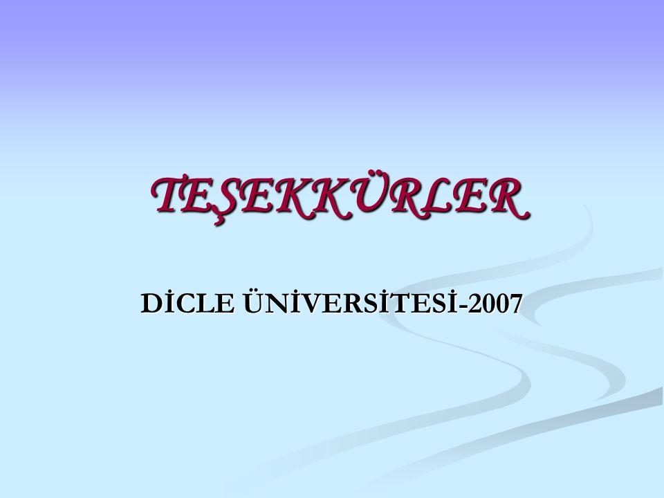 TEŞEKKÜRLER DİCLE ÜNİVERSİTESİ-2007