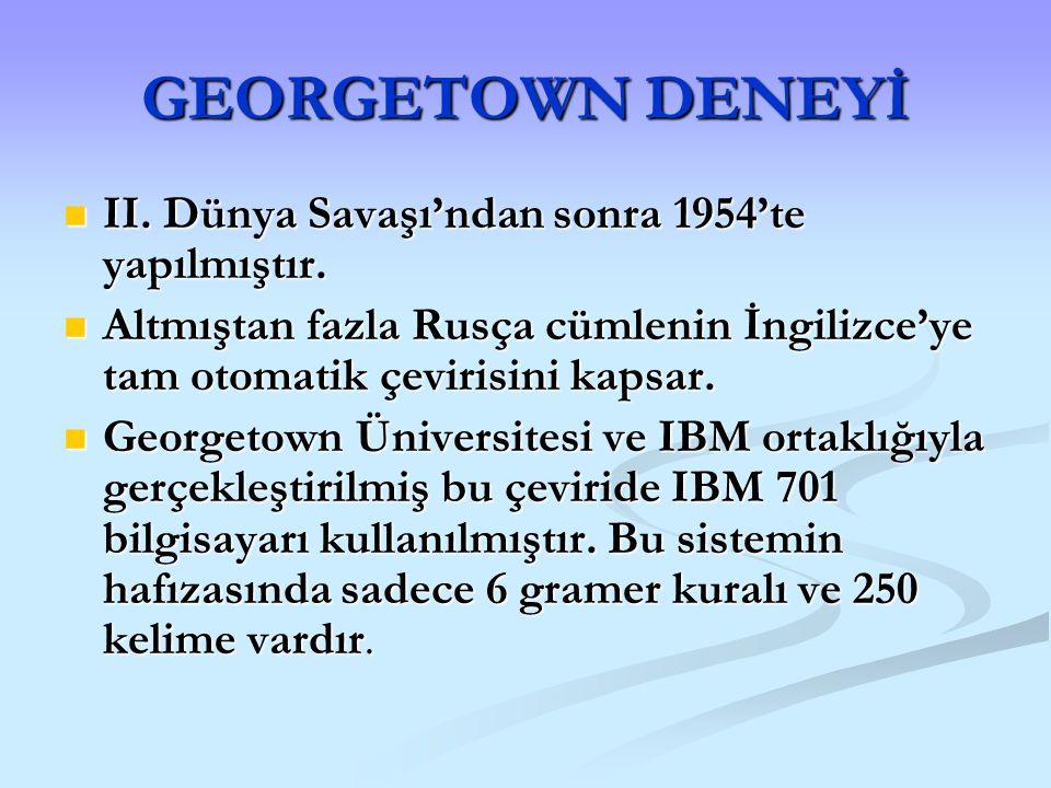 GEORGETOWN DENEYİ II. Dünya Savaşı'ndan sonra 1954'te yapılmıştır. II. Dünya Savaşı'ndan sonra 1954'te yapılmıştır. Altmıştan fazla Rusça cümlenin İng