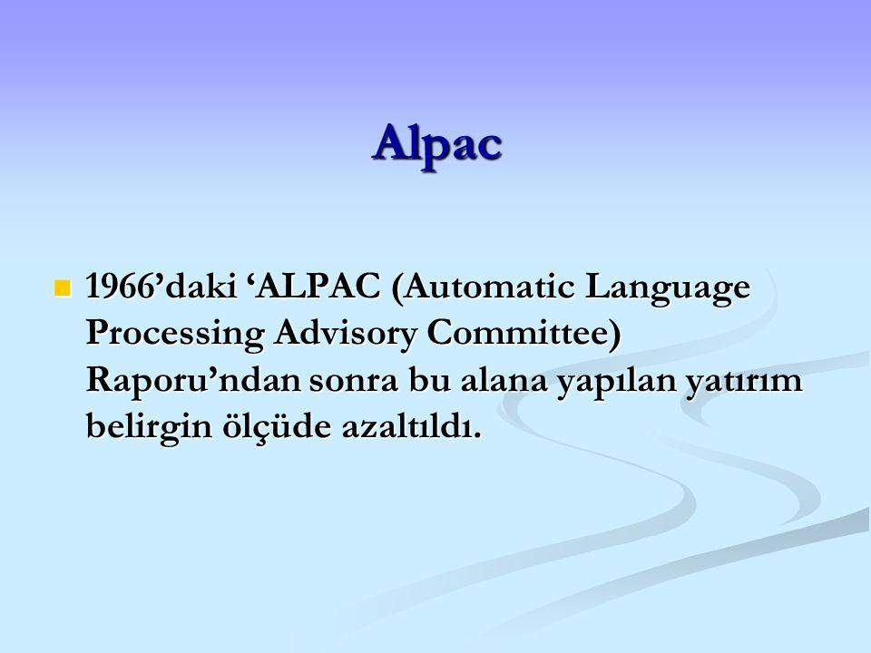 Alpac 1966'daki 'ALPAC (Automatic Language Processing Advisory Committee) Raporu'ndan sonra bu alana yapılan yatırım belirgin ölçüde azaltıldı. 1966'd