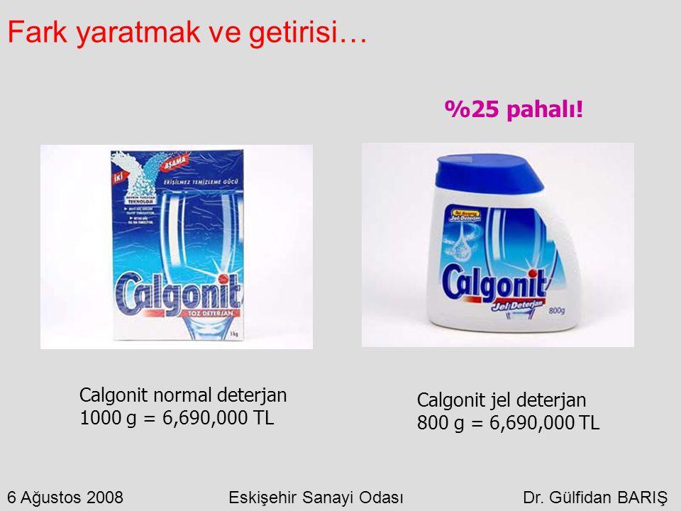 Fark yaratmak ve getirisi… Calgonit normal deterjan 1000 g = 6,690,000 TL Calgonit jel deterjan 800 g = 6,690,000 TL %25 pahalı! 6 Ağustos 2008 Eskişe