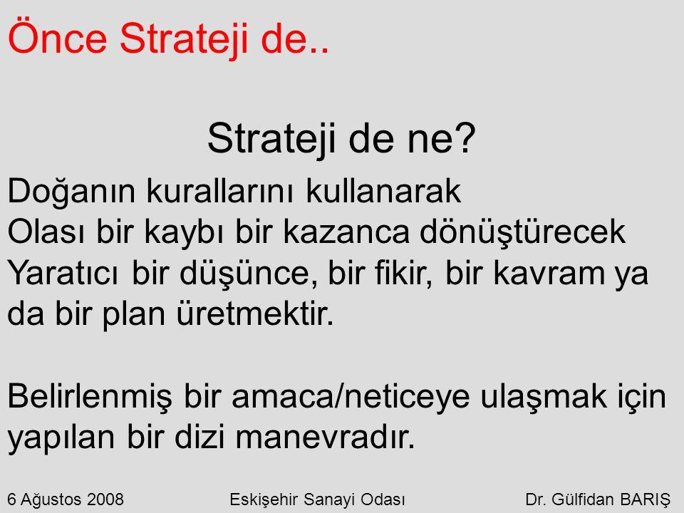 Önce Strateji de.. Strateji de ne? Doğanın kurallarını kullanarak Olası bir kaybı bir kazanca dönüştürecek Yaratıcı bir düşünce, bir fikir, bir kavram