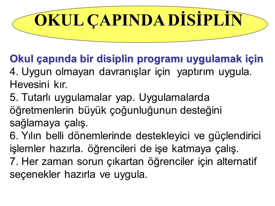 Okul çapında bir disiplin programı uygulamak için; 1. Öğrenciden beklenen davranışları belirle 2. Beklenen davranışların koridorda, sınıfta, spor salo