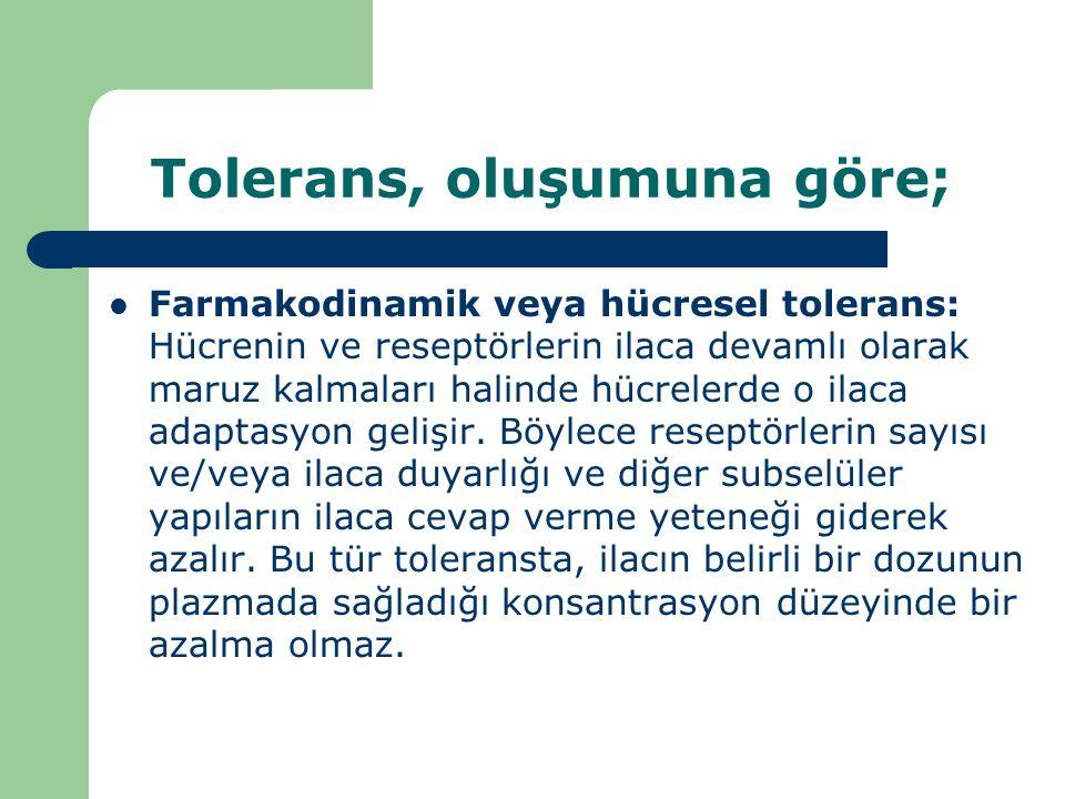 Tolerans, oluşumuna göre; Farmakodinamik veya hücresel tolerans: Hücrenin ve reseptörlerin ilaca devamlı olarak maruz kalmaları halinde hücrelerde o i