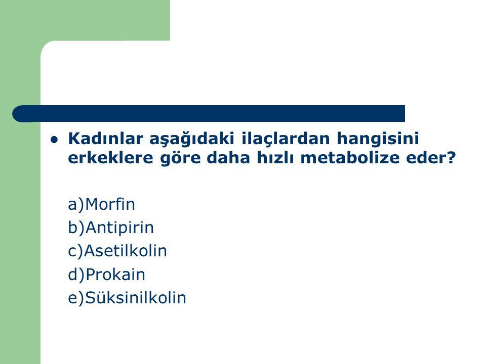 Kadınlar aşağıdaki ilaçlardan hangisini erkeklere göre daha hızlı metabolize eder? a)Morfin b)Antipirin c)Asetilkolin d)Prokain e)Süksinilkolin