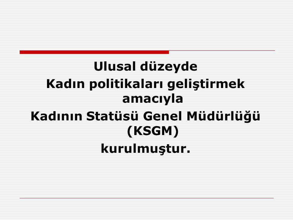 Ulusal düzeyde Kadın politikaları geliştirmek amacıyla Kadının Statüsü Genel Müdürlüğü (KSGM) kurulmuştur.