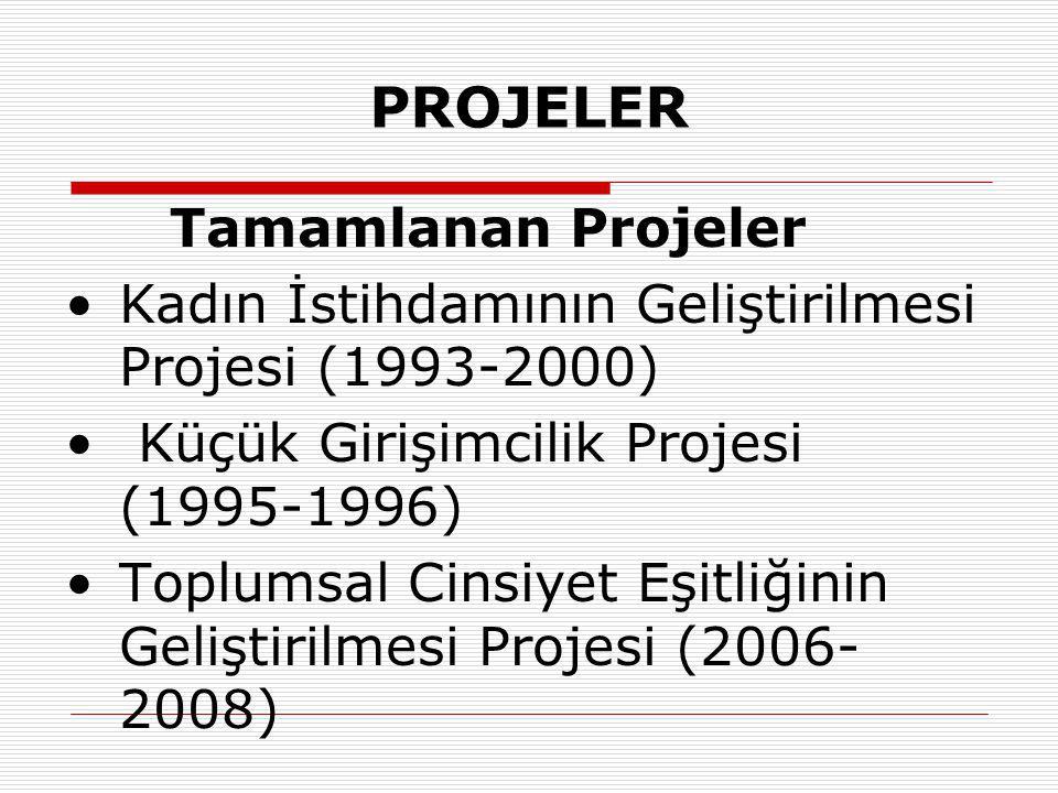 PROJELER Tamamlanan Projeler Kadın İstihdamının Geliştirilmesi Projesi (1993-2000) Küçük Girişimcilik Projesi (1995-1996) Toplumsal Cinsiyet Eşitliğinin Geliştirilmesi Projesi (2006- 2008)