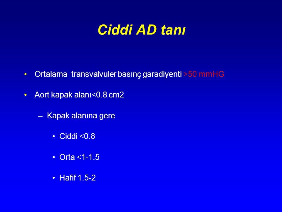 Ciddi AD tanı Ortalama transvalvuler basınç garadiyenti >50 mmHG Aort kapak alanı<0.8 cm2 –Kapak alanına gere Ciddi <0.8 Orta <1-1.5 Hafif 1.5-2