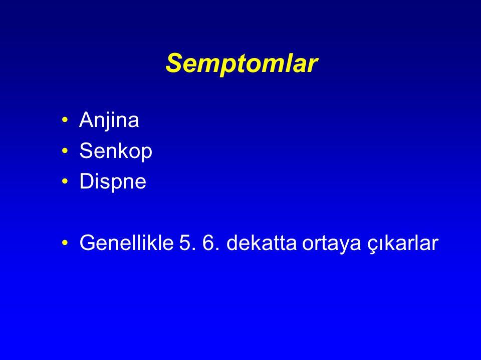 Semptomlar Anjina Senkop Dispne Genellikle 5. 6. dekatta ortaya çıkarlar