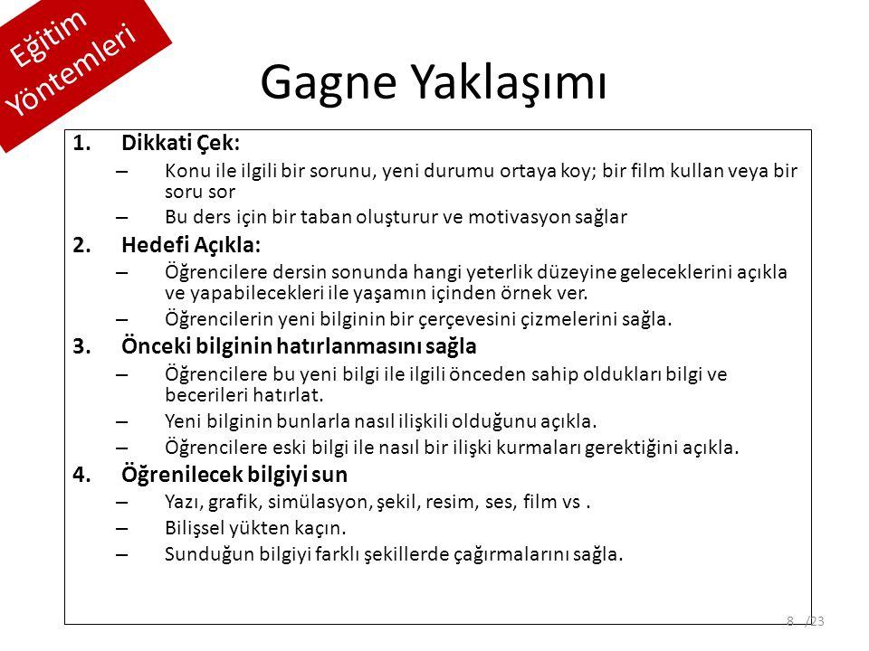Gagne Yaklaşımı Eğitim Yöntemleri 5.Öğrenme için destek ol – Farklı öğrenme şekilleri için farklı iletim yöntemleri kullan.